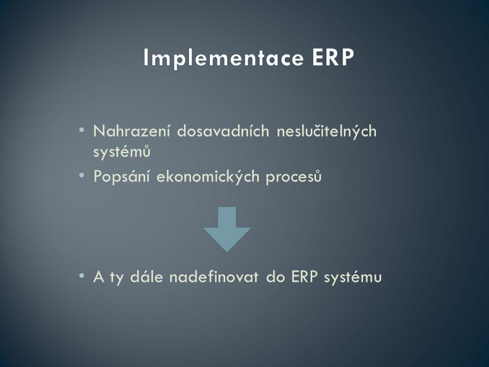 Nahrazení dosavadních neslučitelných systémů Popsání ekonomických procesů A ty dále nadefinovat do ERP systému