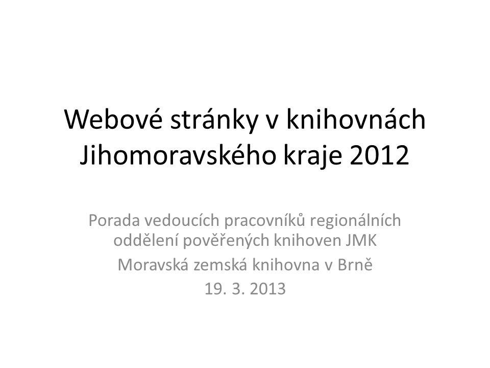 Webové stránky v knihovnách Jihomoravského kraje 2012 Porada vedoucích pracovníků regionálních oddělení pověřených knihoven JMK Moravská zemská knihovna v Brně 19.