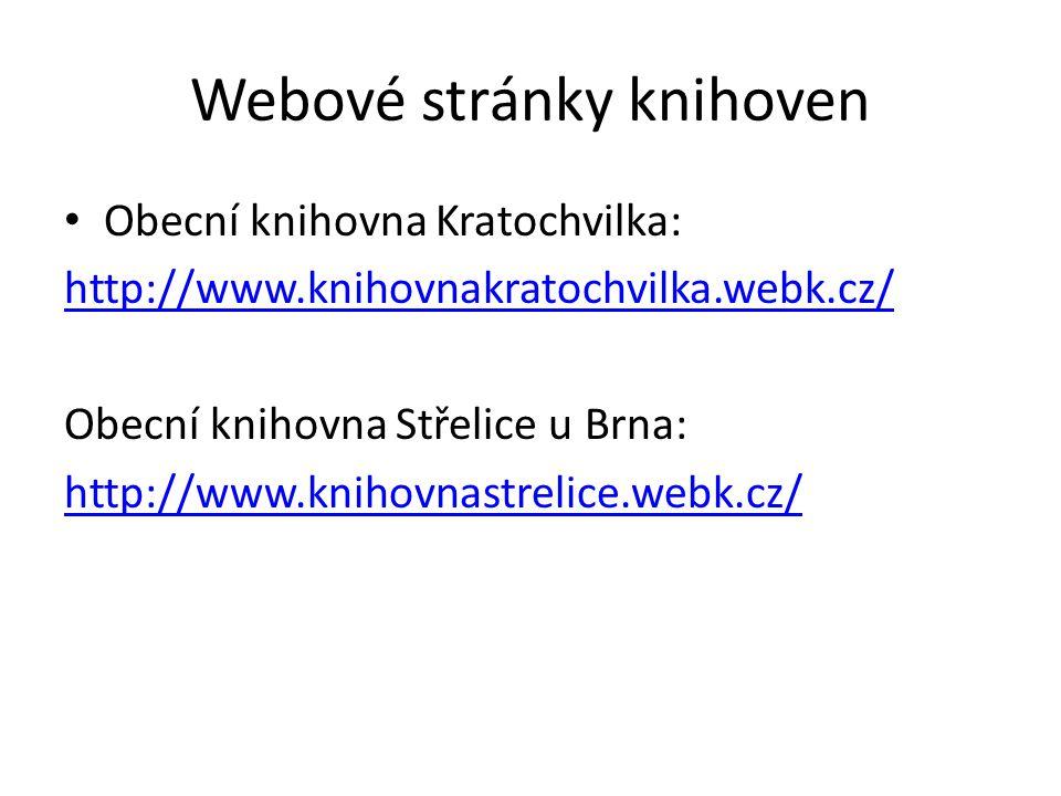 Webové stránky knihoven Obecní knihovna Kratochvilka: http://www.knihovnakratochvilka.webk.cz/ Obecní knihovna Střelice u Brna: http://www.knihovnastrelice.webk.cz/