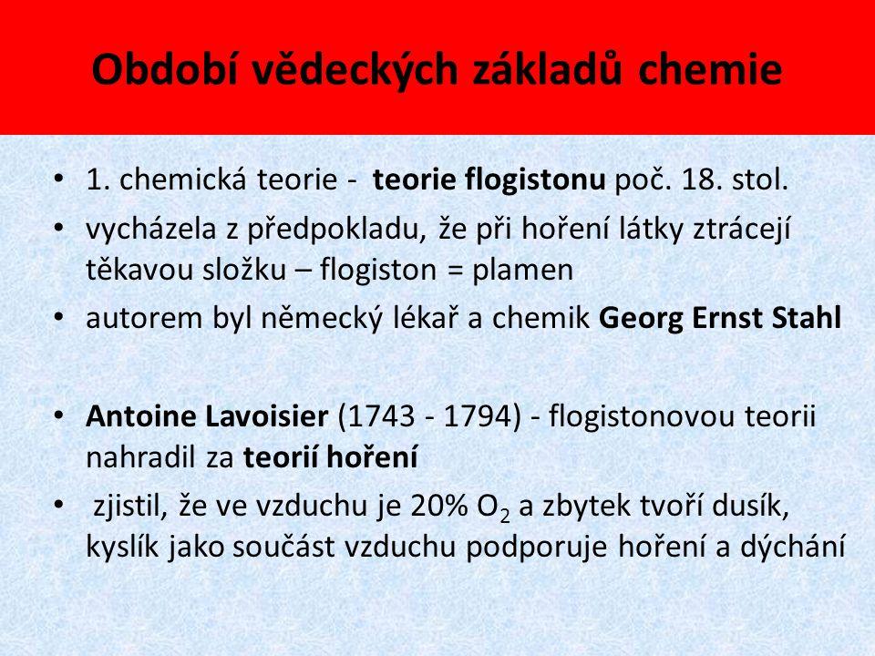 Období vědeckých základů chemie 1. chemická teorie - teorie flogistonu poč. 18. stol. vycházela z předpokladu, že při hoření látky ztrácejí těkavou sl