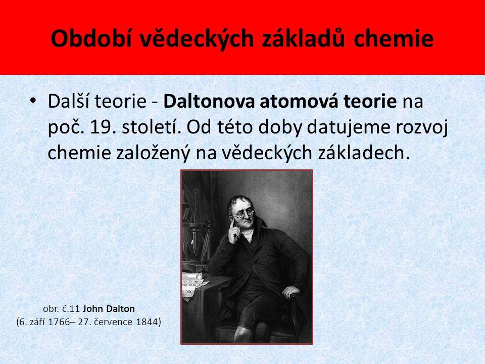 Období vědeckých základů chemie Další teorie - Daltonova atomová teorie na poč. 19. století. Od této doby datujeme rozvoj chemie založený na vědeckých