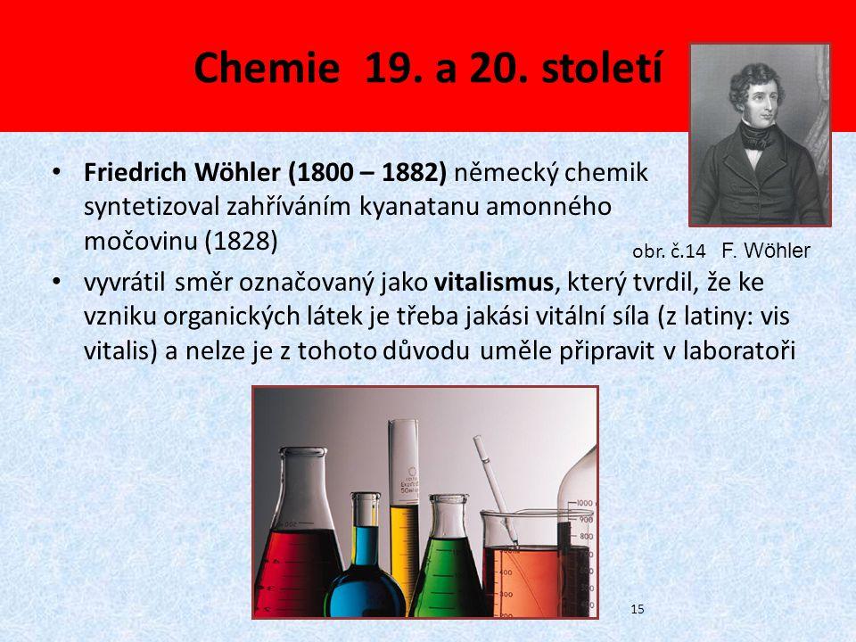 Chemie 19. a 20. století Friedrich Wöhler (1800 – 1882) německý chemik syntetizoval zahříváním kyanatanu amonného močovinu (1828) vyvrátil směr označo