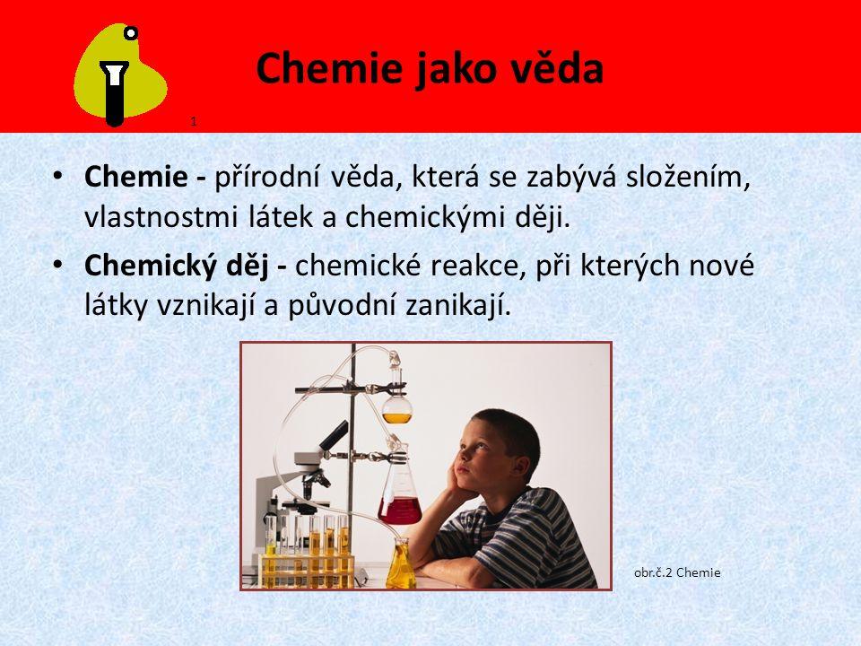 Chemie jako věda Chemie - přírodní věda, která se zabývá složením, vlastnostmi látek a chemickými ději. Chemický děj - chemické reakce, při kterých no