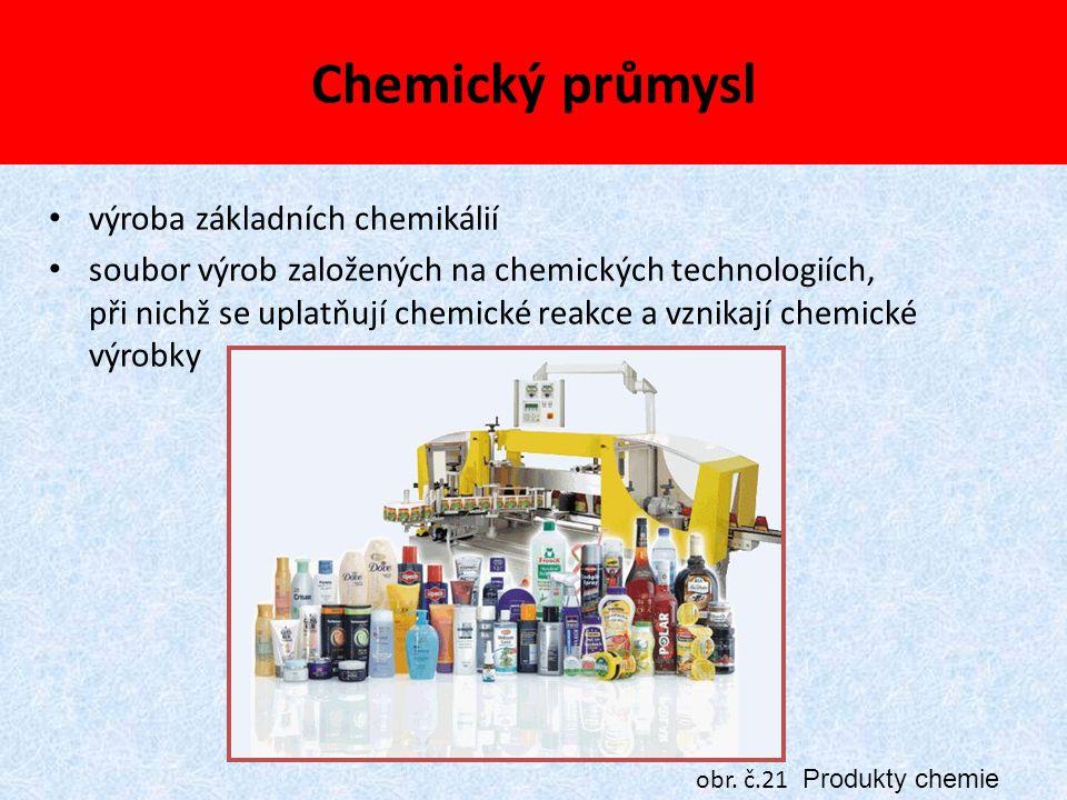 Chemický průmysl výroba základních chemikálií soubor výrob založených na chemických technologiích, při nichž se uplatňují chemické reakce a vznikají c