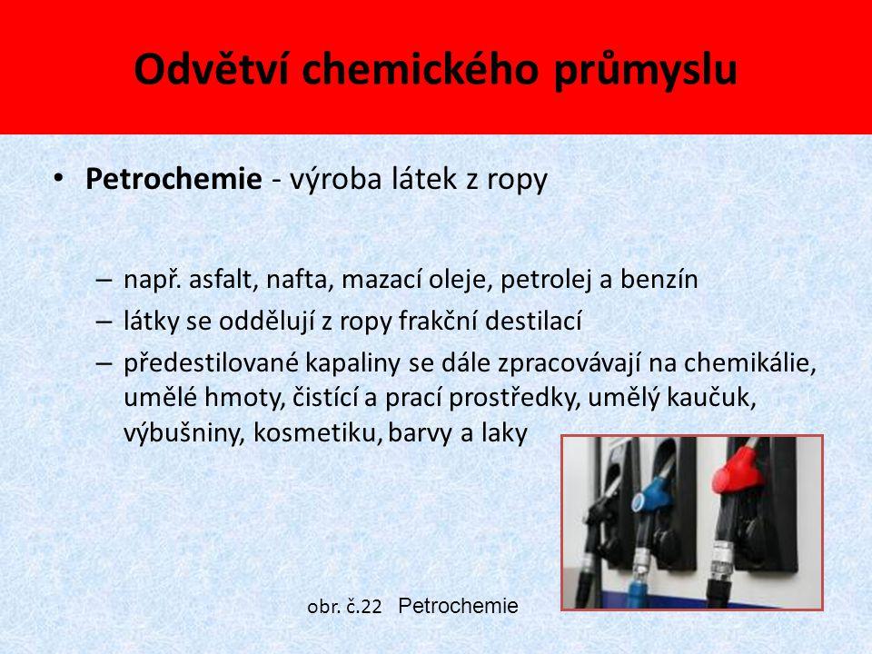 Odvětví chemického průmyslu Petrochemie - výroba látek z ropy – např. asfalt, nafta, mazací oleje, petrolej a benzín – látky se oddělují z ropy frakčn