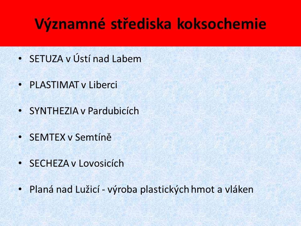 Významné střediska koksochemie SETUZA v Ústí nad Labem PLASTIMAT v Liberci SYNTHEZIA v Pardubicích SEMTEX v Semtíně SECHEZA v Lovosicích Planá nad Luž