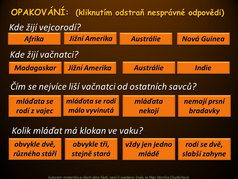 Autorem materiálu a všech jeho částí, není-li uvedeno jinak, je Mgr. Monika Chudárková Kde žijí vejcorodí? Afrika Nová Guinea Austrálie Jižní Amerika