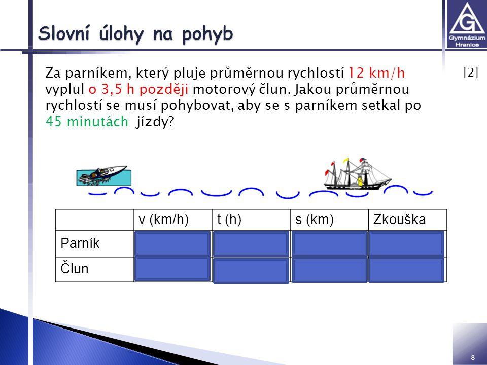 8 [2] [2] Za parníkem, který pluje průměrnou rychlostí 12 km/h vyplul o 3,5 h později motorový člun. Jakou průměrnou rychlostí se musí pohybovat, aby