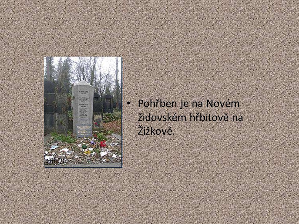 Pohřben je na Novém židovském hřbitově na Žižkově. Obr. 9