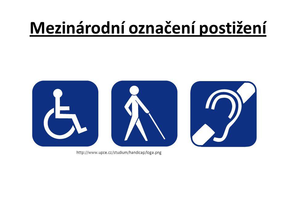 Mezinárodní označení postižení http://www.upce.cz/studium/handicap/loga.png