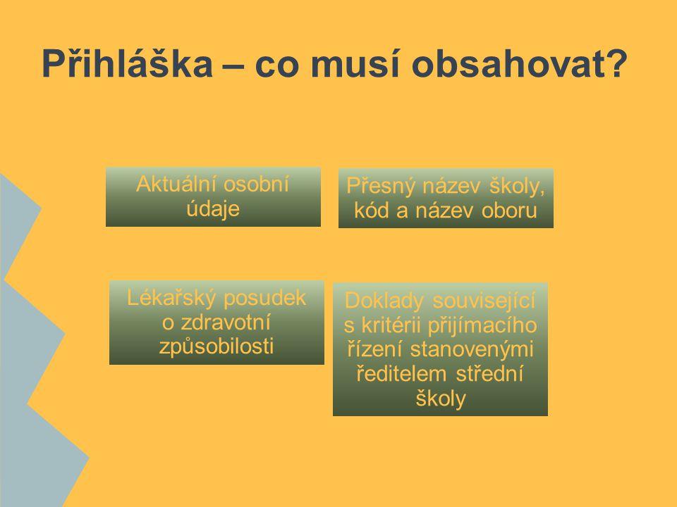 Přihlášky žákům zajistí ZŠ ZŠ po vyplnění potvrdí správnost přihlášek (klasifikací).