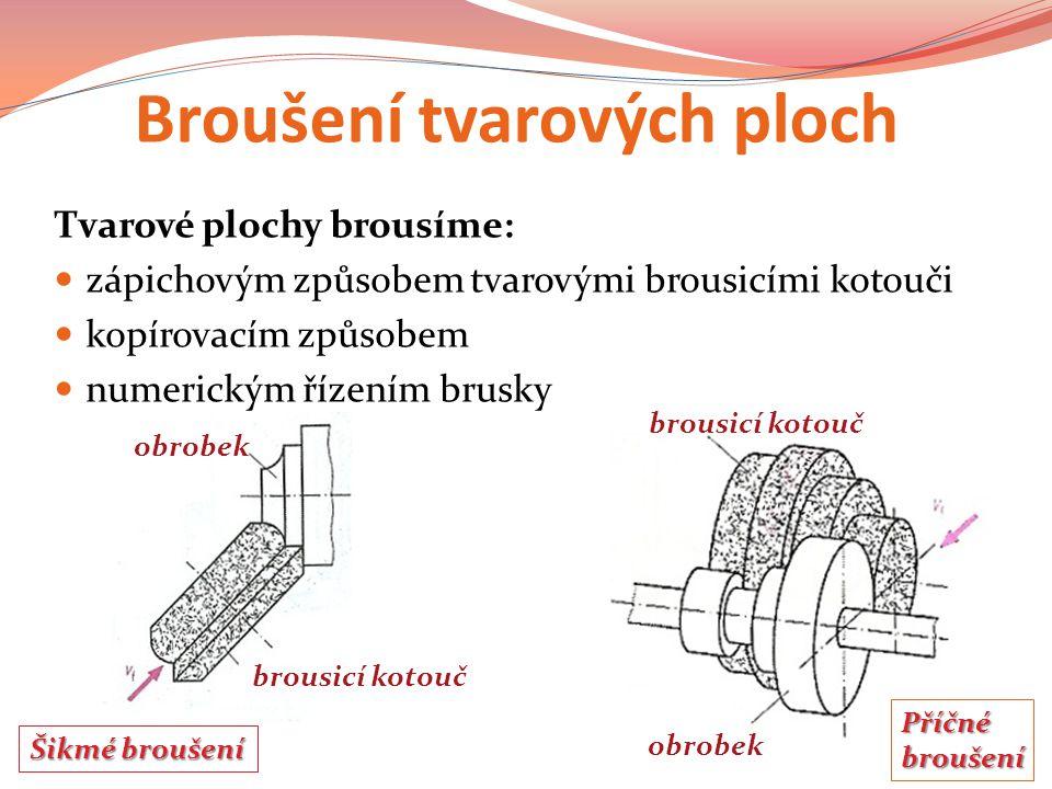 Broušení tvarových ploch Tvarové plochy brousíme: zápichovým způsobem tvarovými brousicími kotouči kopírovacím způsobem numerickým řízením brusky obrobek brousicí kotouč obrobek Šikmé broušení Příčnébroušení