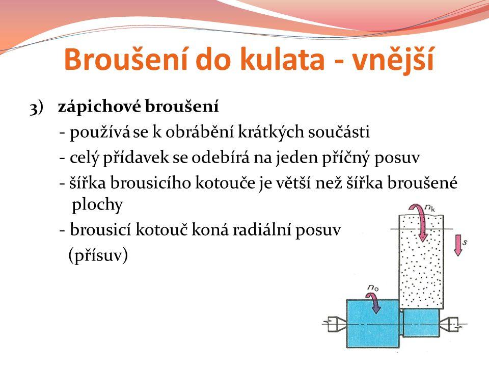 Broušení do kulata - vnější 3) zápichové broušení - používá se k obrábění krátkých součásti - celý přídavek se odebírá na jeden příčný posuv - šířka brousicího kotouče je větší než šířka broušené plochy - brousicí kotouč koná radiální posuv (přísuv)