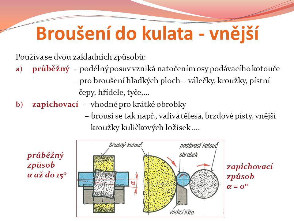 Broušení do kulata - vnější Používá se dvou základních způsobů: a) průběžný– podélný posuv vzniká natočením osy podávacího kotouče – pro broušení hladkých ploch – válečky, kroužky, pístní čepy, hřídele, tyče,… b) zapichovací– vhodné pro krátké obrobky – brousí se tak např., valivá tělesa, brzdové písty, vnější kroužky kuličkových ložisek ….