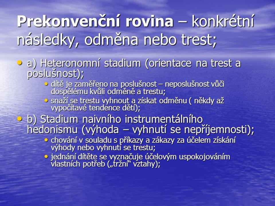 Prekonvenční rovina – konkrétní následky, odměna nebo trest; a) Heteronomní stadium (orientace na trest a poslušnost); a) Heteronomní stadium (orienta