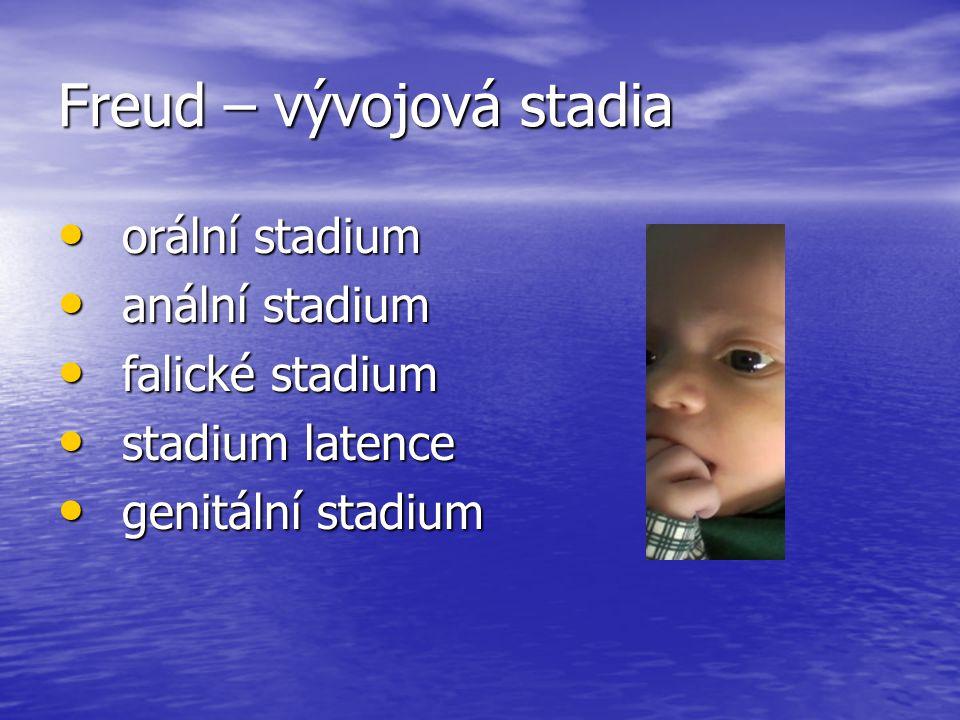 Freud – vývojová stadia orální stadium orální stadium anální stadium anální stadium falické stadium falické stadium stadium latence stadium latence ge