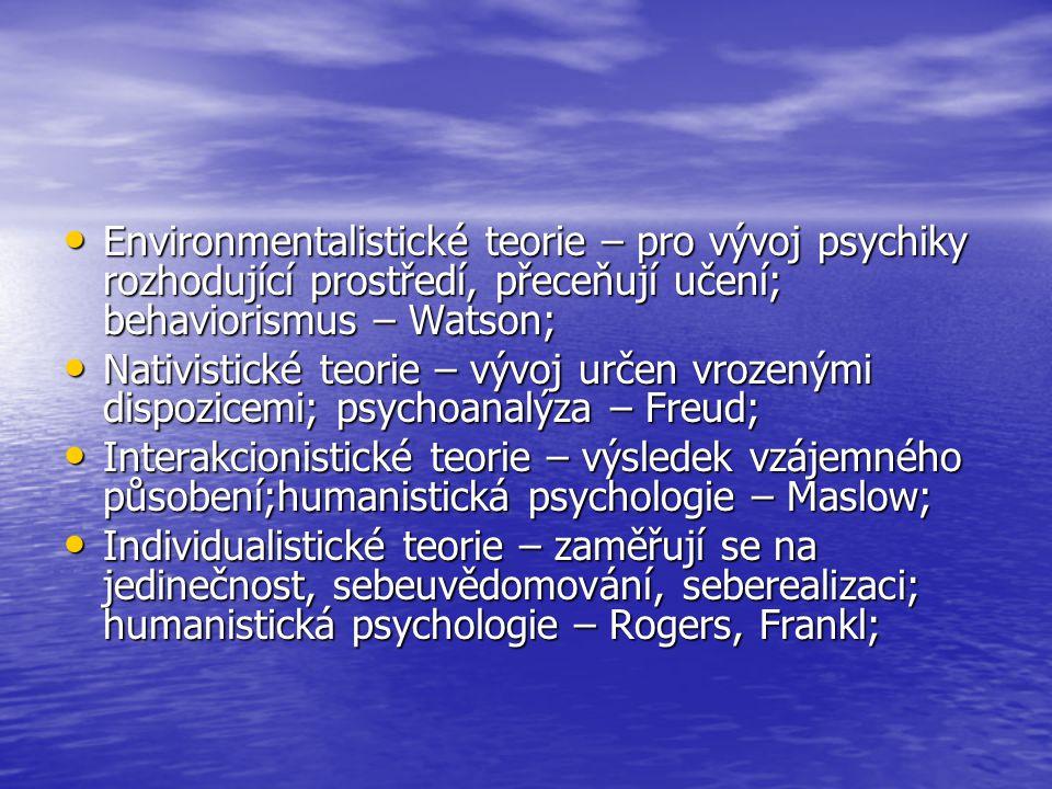 Environmentalistické teorie – pro vývoj psychiky rozhodující prostředí, přeceňují učení; behaviorismus – Watson; Environmentalistické teorie – pro výv