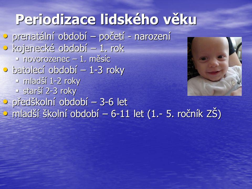 Periodizace lidského věku prenatální období – početí - narození prenatální období – početí - narození kojenecké období – 1. rok kojenecké období – 1.