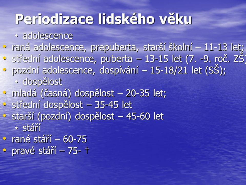 Periodizace lidského věku adolescence adolescence raná adolescence, prepuberta, starší školní – 11-13 let; raná adolescence, prepuberta, starší školní