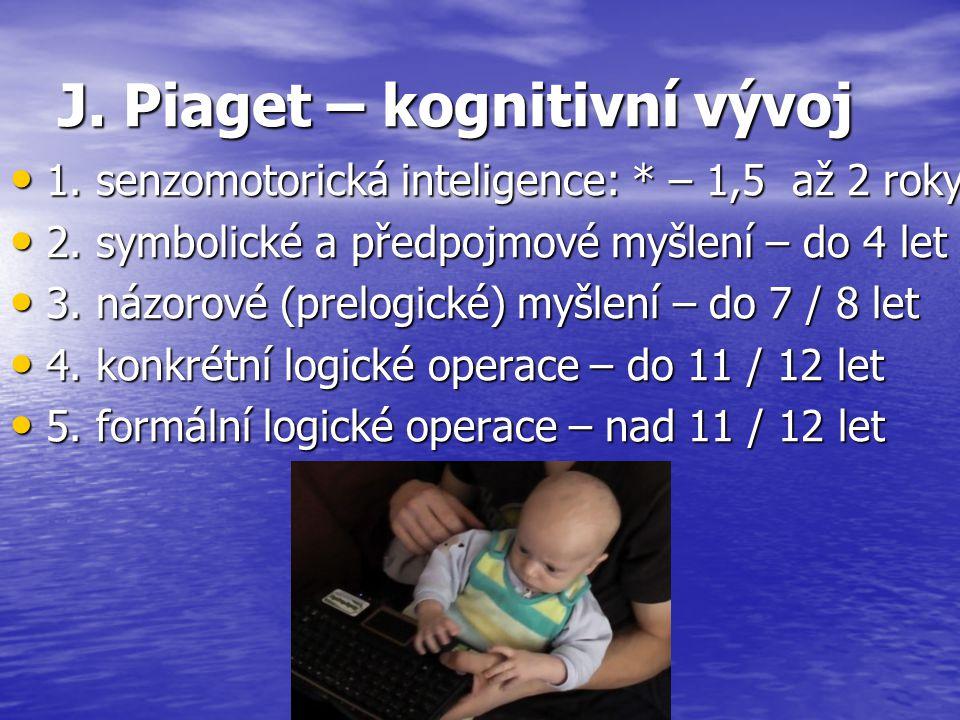 J. Piaget – kognitivní vývoj 1. senzomotorická inteligence: * – 1,5 až 2 roky 1. senzomotorická inteligence: * – 1,5 až 2 roky 2. symbolické a předpoj