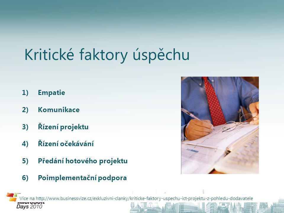 Kritické faktory úspěchu 1)Empatie 2)Komunikace 3)Řízení projektu 4)Řízení očekávání 5)Předání hotového projektu 6)Poimplementační podpora Více na http://www.businessvize.cz/exkluzivni-clanky/kriticke-faktory-uspechu-ict-projektu-z-pohledu-dodavatele