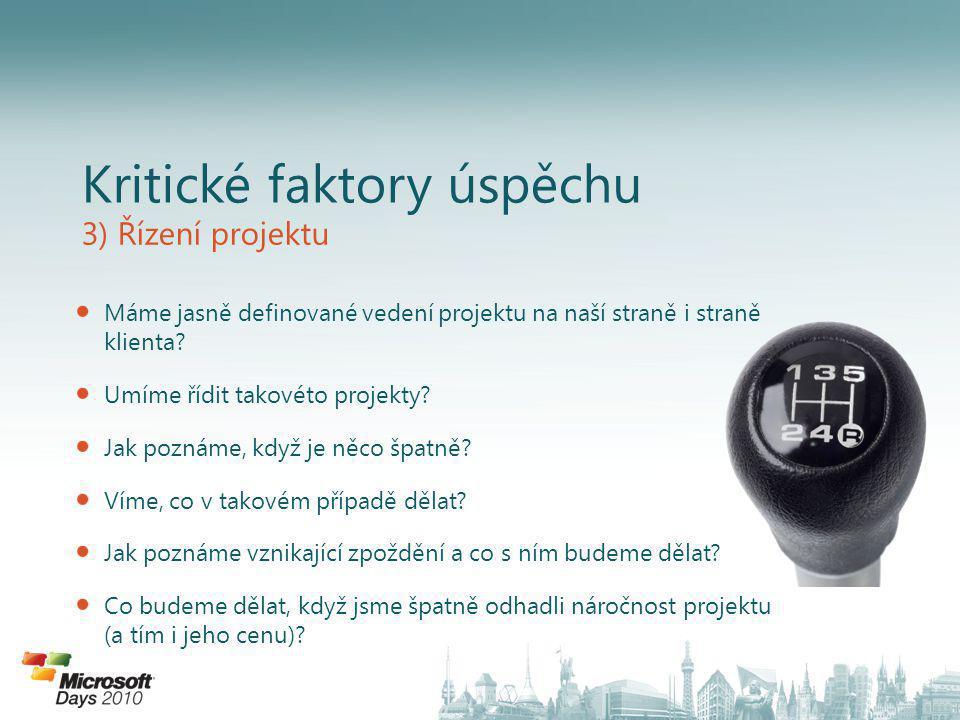 Kritické faktory úspěchu 3) Řízení projektu Máme jasně definované vedení projektu na naší straně i straně klienta.