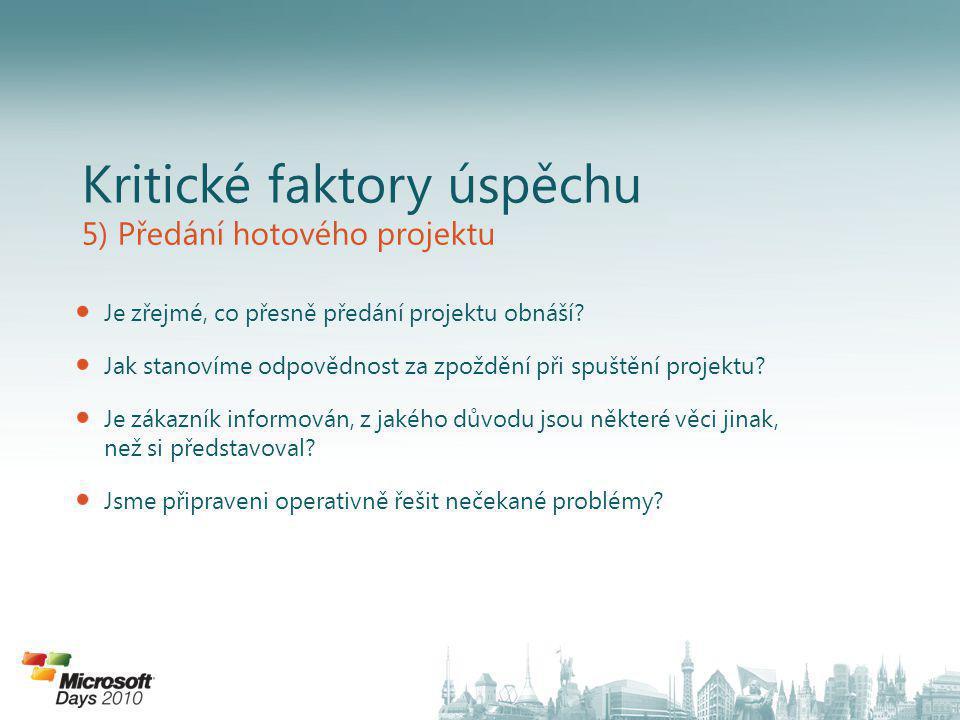 Kritické faktory úspěchu 5) Předání hotového projektu Je zřejmé, co přesně předání projektu obnáší.