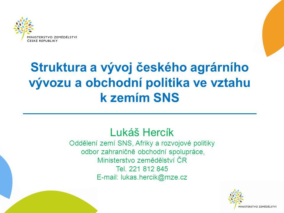 Struktura a vývoj českého agrárního vývozu a obchodní politika ve vztahu k zemím SNS _____________________________________________________ Lukáš Hercí