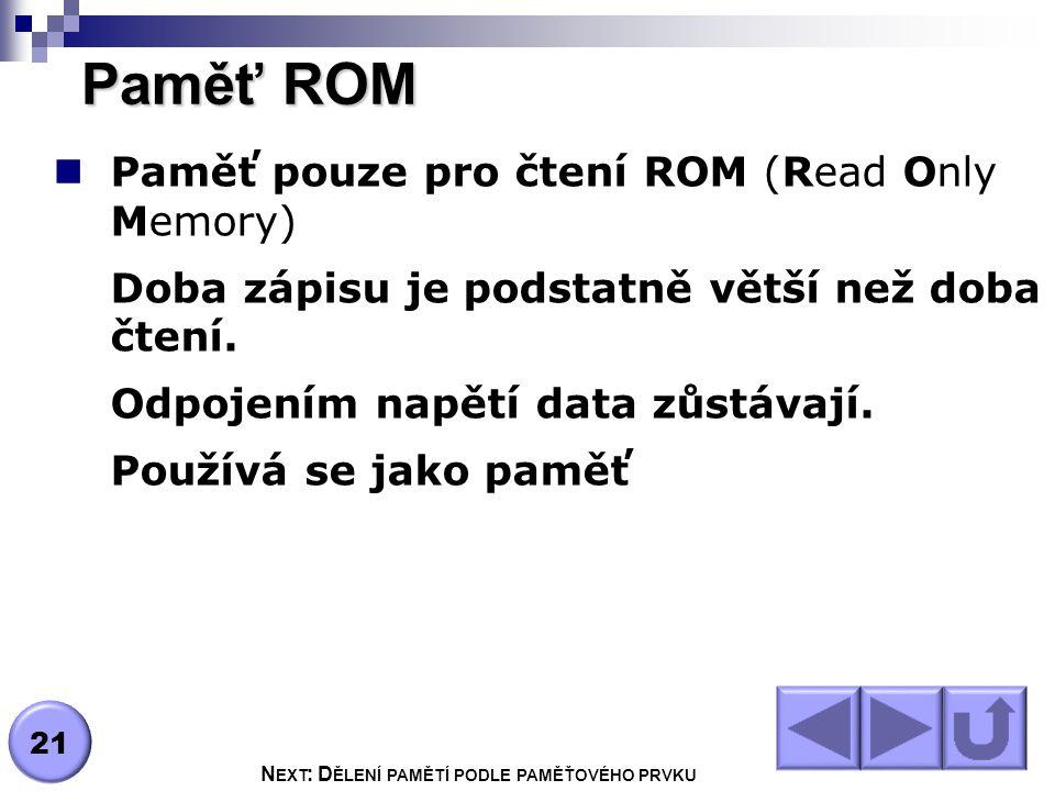 Paměť ROM Paměť pouze pro čtení ROM (Read Only Memory) Doba zápisu je podstatně větší než doba čtení.
