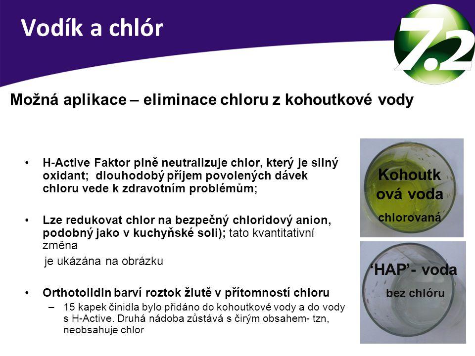 Redukce chloru v pitné vodě.