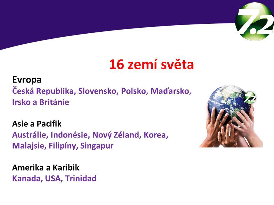 16 zemí světa Evropa Česká Republika, Slovensko, Polsko, Maďarsko, Irsko a Británie Asie a Pacifik Austrálie, Indonésie, Nový Zéland, Korea, Malajsie, Filipíny, Singapur Amerika a Karibik Kanada, USA, Trinidad