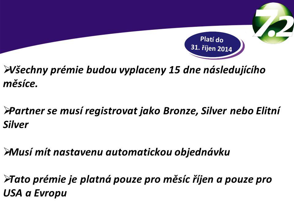 RYCHLÁ HOTOVOST  Všechny prémie budou vyplaceny 15 dne následujícího měsíce.  Partner se musí registrovat jako Bronze, Silver nebo Elitní Silver  M