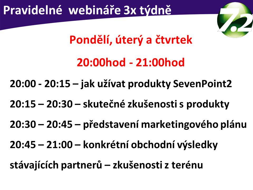 Pravidelné webináře 3x týdně Pondělí, úterý a čtvrtek 20:00hod - 21:00hod 20:00 - 20:15 – jak užívat produkty SevenPoint2 20:15 – 20:30 – skutečné zkušenosti s produkty 20:30 – 20:45 – představení marketingového plánu 20:45 – 21:00 – konkrétní obchodní výsledky stávajících partnerů – zkušenosti z terénu