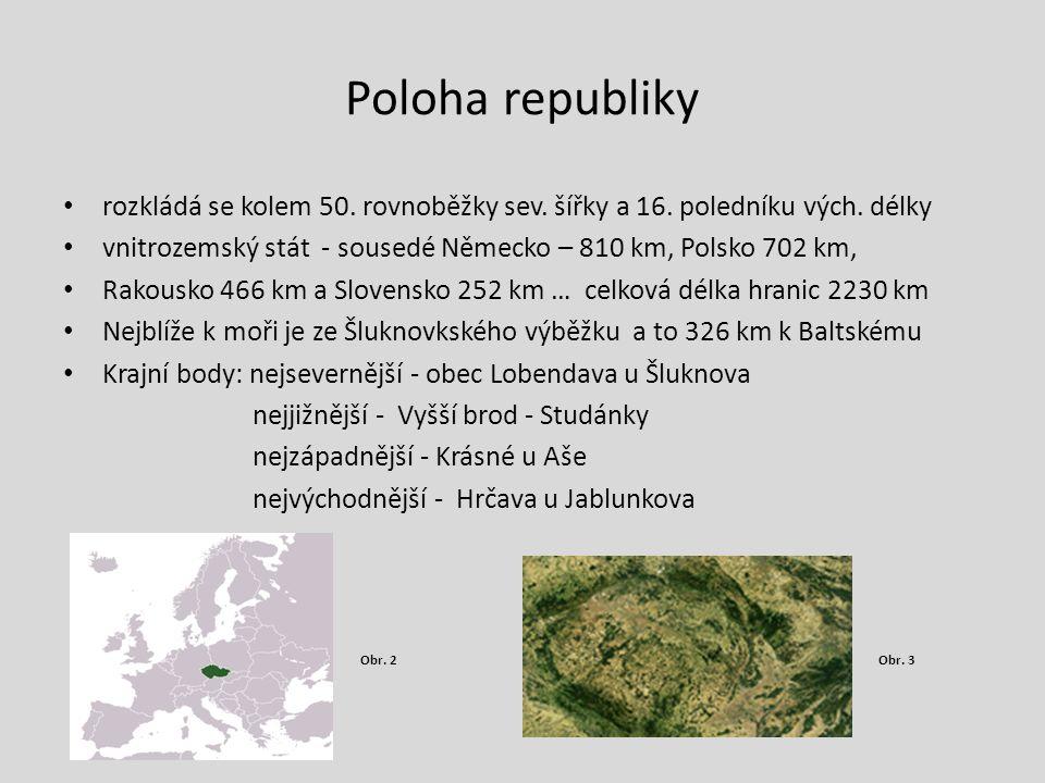 Poloha republiky rozkládá se kolem 50. rovnoběžky sev. šířky a 16. poledníku vých. délky vnitrozemský stát - sousedé Německo – 810 km, Polsko 702 km,