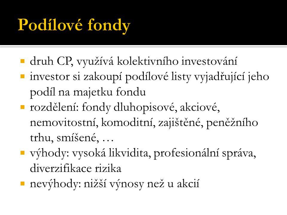 druh CP, využívá kolektivního investování  investor si zakoupí podílové listy vyjadřující jeho podíl na majetku fondu  rozdělení: fondy dluhopisov