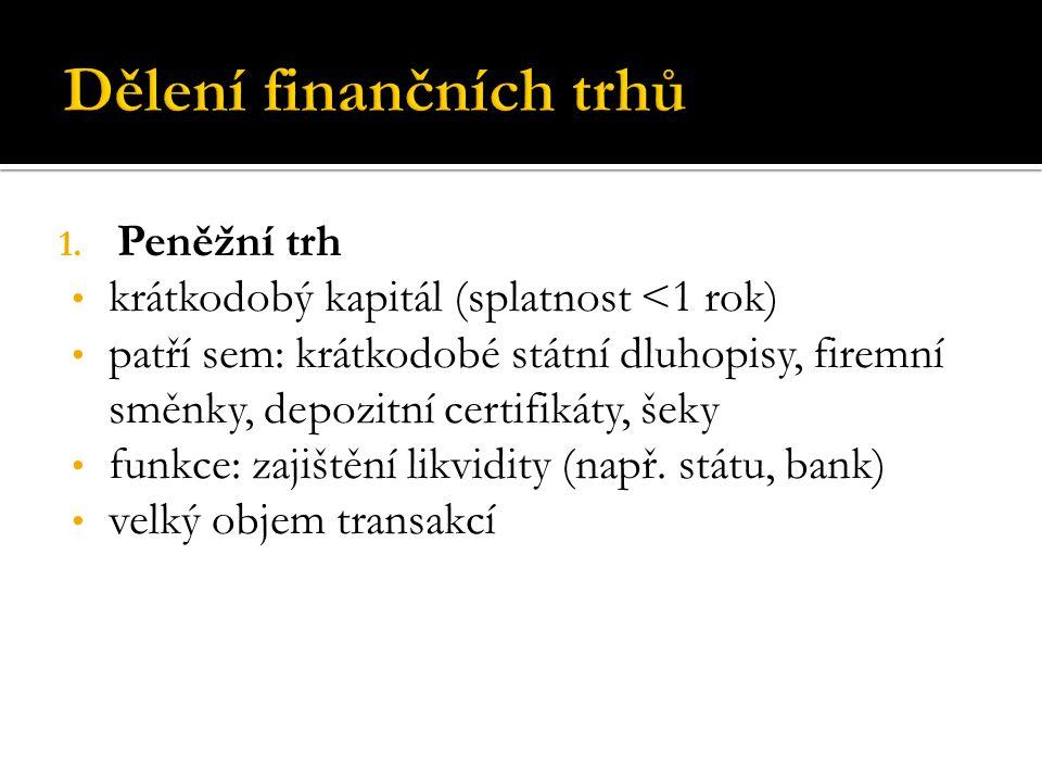 1. Peněžní trh krátkodobý kapitál (splatnost <1 rok) patří sem: krátkodobé státní dluhopisy, firemní směnky, depozitní certifikáty, šeky funkce: zajiš