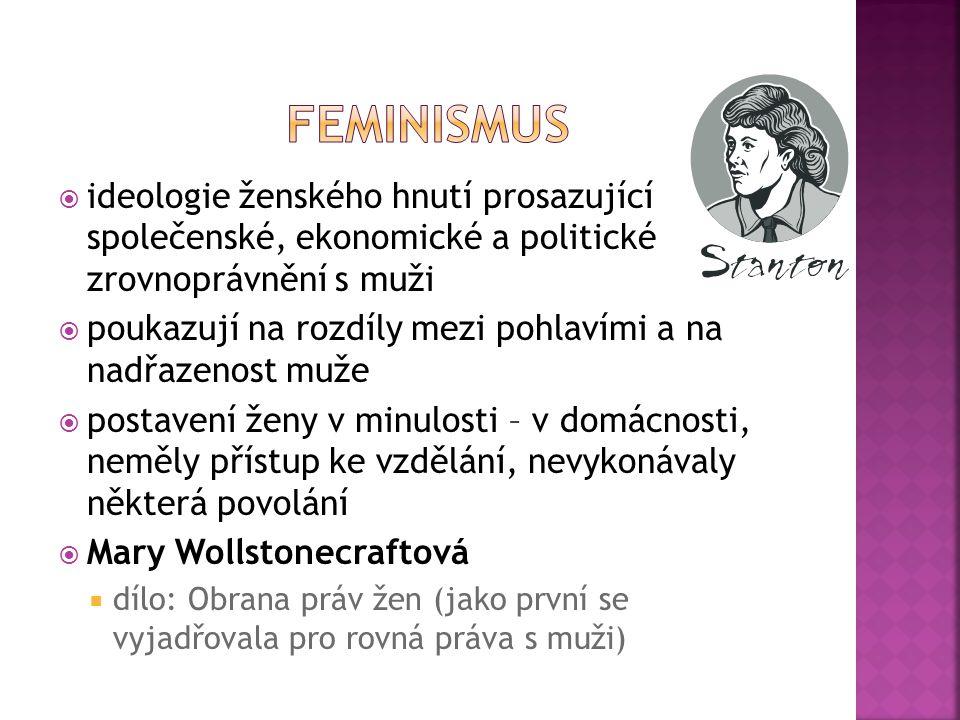  ideologie ženského hnutí prosazující společenské, ekonomické a politické zrovnoprávnění s muži  poukazují na rozdíly mezi pohlavími a na nadřazenost muže  postavení ženy v minulosti – v domácnosti, neměly přístup ke vzdělání, nevykonávaly některá povolání  Mary Wollstonecraftová  dílo: Obrana práv žen (jako první se vyjadřovala pro rovná práva s muži)