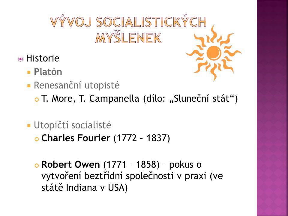  Historie  Platón  Renesanční utopisté T.More, T.
