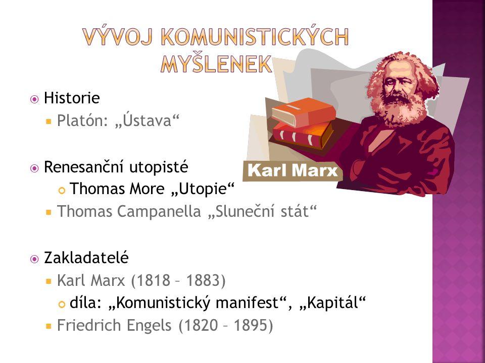 """ Historie  Platón: """"Ústava  Renesanční utopisté Thomas More """"Utopie  Thomas Campanella """"Sluneční stát  Zakladatelé  Karl Marx (1818 – 1883) díla: """"Komunistický manifest , """"Kapitál  Friedrich Engels (1820 – 1895)"""