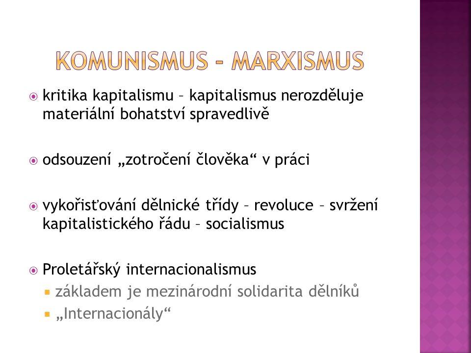  Po smrti Marxe vzniklo několik proudů  pokračovatelé Marxových teorií Karl Kautsky (1854 – 1938)  totalitní ideologie Vladimír Lenin (1870 – 1924) Josef Stalin (1879 -1953)  Lev Trockij (1879 – 1940) Stalinův kritik, byl donucen k emigraci  Neomarxismus směr rozšířený v západní Evropě od 60.let 20.století syntéza některých marxistických představ s anarchistickými, psychologickými, existencialistickými