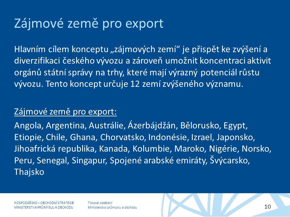 """Tiskové oddělení Ministerstvo průmyslu a obchodu HOSPODÁŘSKO – OBCHODNÍ STRATEGIE MINISTERSTVA PRŮMYSLU A OBCHODU 10 Zájmové země pro export Hlavním cílem konceptu """"zájmových zemí je přispět ke zvýšení a diverzifikaci českého vývozu a zároveň umožnit koncentraci aktivit orgánů státní správy na trhy, které mají výrazný potenciál růstu vývozu."""