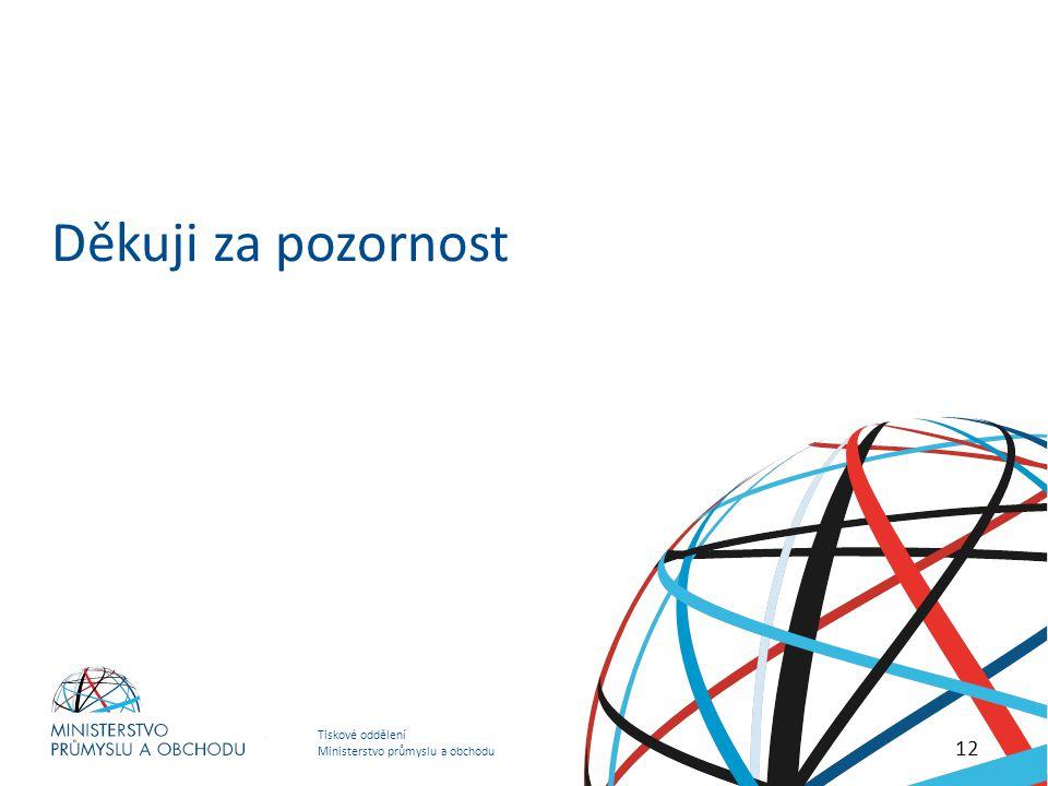 Tiskové oddělení Ministerstvo průmyslu a obchodu HOSPODÁŘSKO – OBCHODNÍ STRATEGIE MINISTERSTVA PRŮMYSLU A OBCHODU Děkuji za pozornost 12