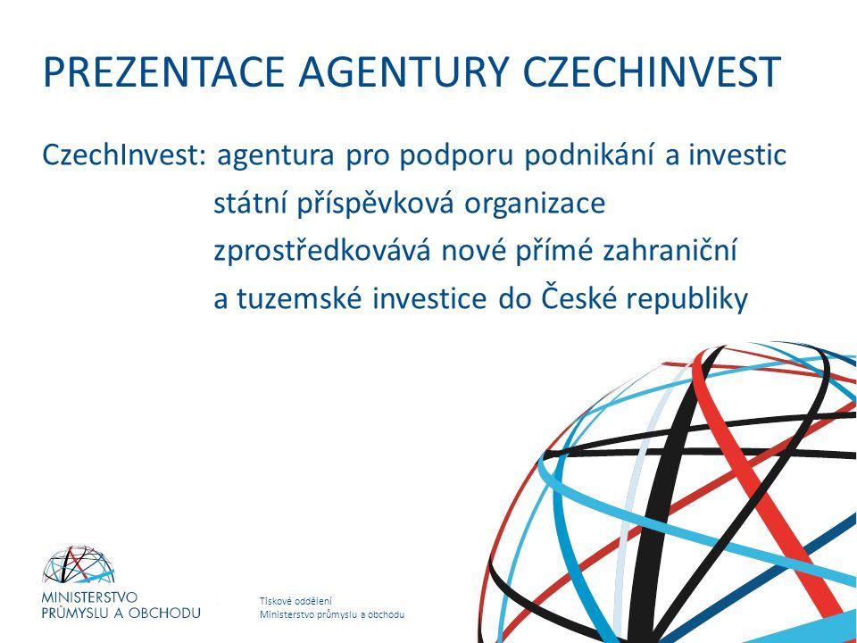 Tiskové oddělení Ministerstvo průmyslu a obchodu HOSPODÁŘSKO – OBCHODNÍ STRATEGIE MINISTERSTVA PRŮMYSLU A OBCHODU PREZENTACE AGENTURY CZECHINVEST Czec