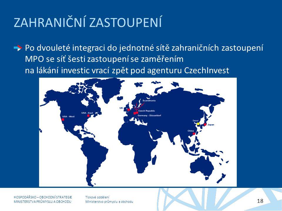 Tiskové oddělení Ministerstvo průmyslu a obchodu HOSPODÁŘSKO – OBCHODNÍ STRATEGIE MINISTERSTVA PRŮMYSLU A OBCHODU 18 ZAHRANIČNÍ ZASTOUPENÍ Po dvouleté integraci do jednotné sítě zahraničních zastoupení MPO se síť šesti zastoupení se zaměřením na lákání investic vrací zpět pod agenturu CzechInvest