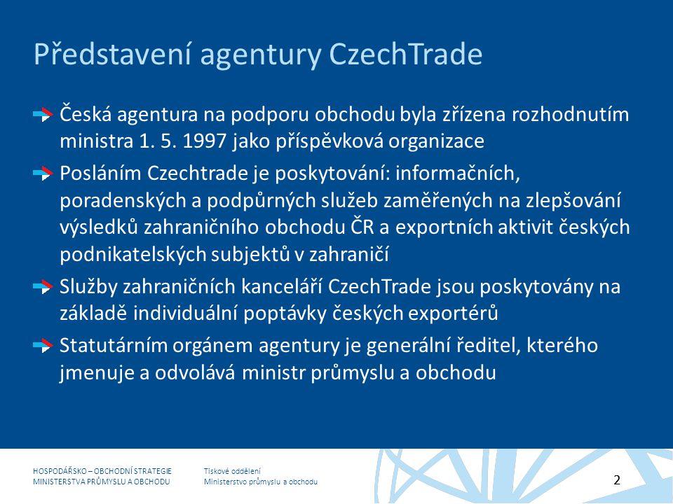 Tiskové oddělení Ministerstvo průmyslu a obchodu HOSPODÁŘSKO – OBCHODNÍ STRATEGIE MINISTERSTVA PRŮMYSLU A OBCHODU 2 Představení agentury CzechTrade Česká agentura na podporu obchodu byla zřízena rozhodnutím ministra 1.