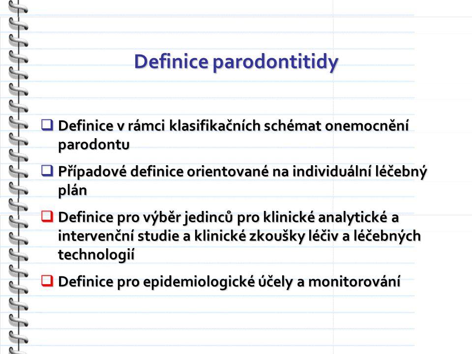 Definice parodontitidy  Definice v rámci klasifikačních schémat onemocnění parodontu  Případové definice orientované na individuální léčebný plán  Definice pro výběr jedinců pro klinické analytické a intervenční studie a klinické zkoušky léčiv a léčebných technologií  Definice pro epidemiologické účely a monitorování