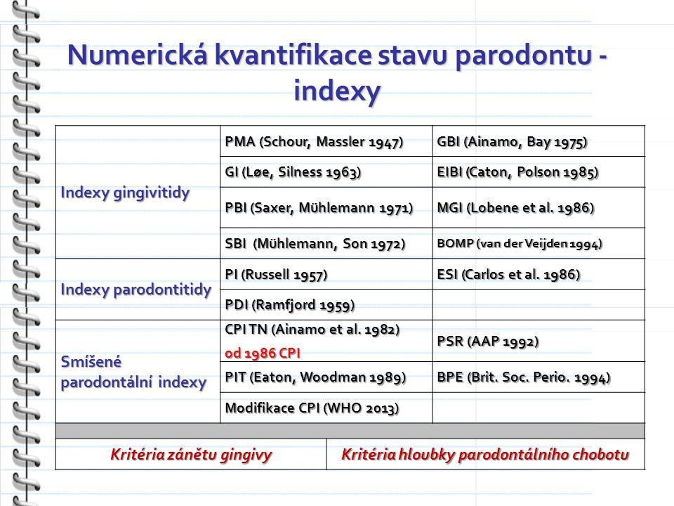 Numerická kvantifikace stavu parodontu - indexy Indexy gingivitidy PMA (Schour, Massler 1947) GBI (Ainamo, Bay 1975) GI (Løe, Silness 1963) EIBI (Caton, Polson 1985) PBI (Saxer, Mühlemann 1971) MGI (Lobene et al.