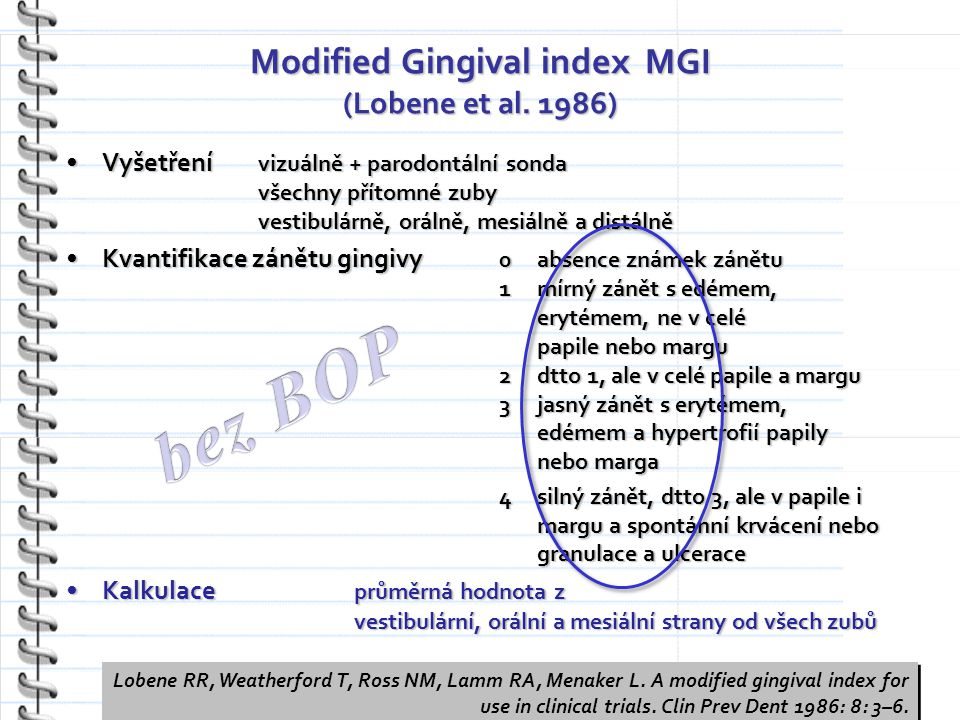 Modified Gingival index MGI (Lobene et al.