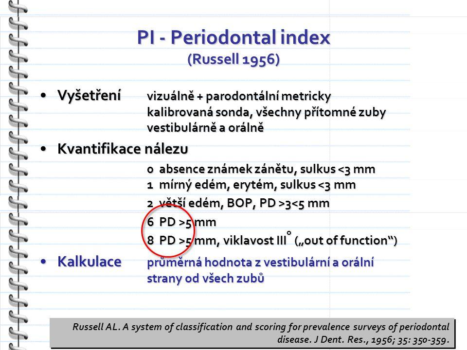 """PI - Periodontal index (Russell 1956) Vyšetření vizuálně + parodontální metricky kalibrovaná sonda, všechny přítomné zuby vestibulárně a orálněVyšetření vizuálně + parodontální metricky kalibrovaná sonda, všechny přítomné zuby vestibulárně a orálně Kvantifikace nálezuKvantifikace nálezu 0 absence známek zánětu, sulkus <3 mm 1 mírný edém, erytém, sulkus <3 mm 2 větší edém, BOP, PD >3 3<5 mm 6 PD >5 mm 8 PD >5 mm, viklavost III o (""""out of function ) Kalkulace průměrná hodnota z vestibulární a orální strany od všech zubůKalkulace průměrná hodnota z vestibulární a orální strany od všech zubů Russell AL."""