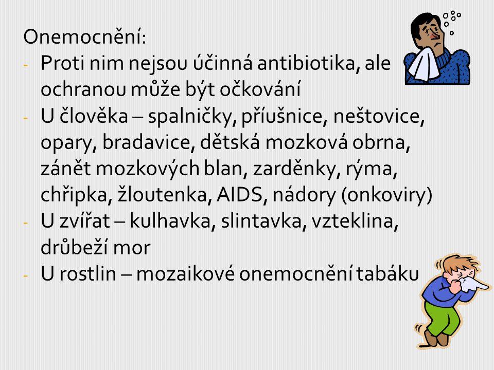 Onemocnění: - Proti nim nejsou účinná antibiotika, ale ochranou může být očkování - U člověka – spalničky, příušnice, neštovice, opary, bradavice, dět